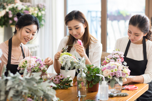 Young women learning flower arrangementの写真素材 [FYI02229144]