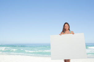 Woman wearing a bikini holding a blank poster in front of herの写真素材 [FYI02230598]
