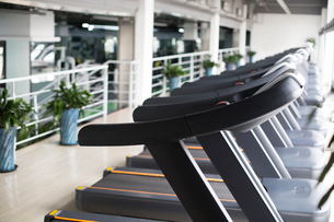 Treadmills in a row at gymの写真素材 [FYI02231902]
