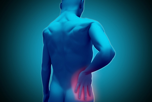 Digital human rubbing lower back painの写真素材 [FYI02233265]
