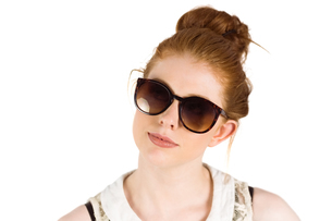 Hipster redhead wearing large sunglassesの写真素材 [FYI02234447]