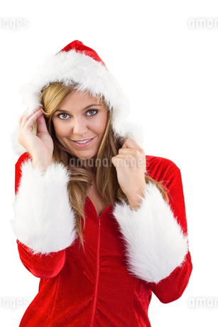 Festive blonde smiling at cameraの写真素材 [FYI02234637]