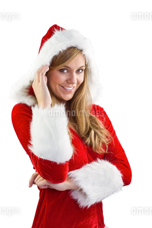 Festive blonde smiling at cameraの写真素材 [FYI02234667]