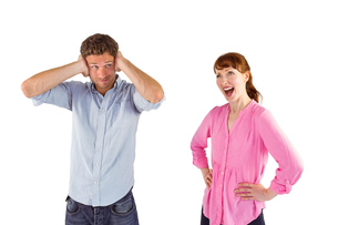 Woman arguing with ignoring manの写真素材 [FYI02235471]