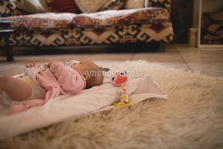 Cute baby lying on carpet in living roomの写真素材 [FYI02235824]
