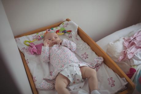 Baby resting in cribの写真素材 [FYI02236121]
