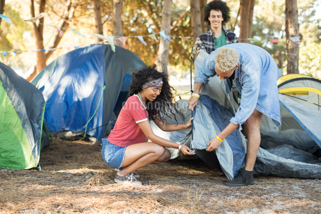 Young friends setting up tent together on fieldの写真素材 [FYI02236423]