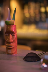 Close up of bar accessories with moai mugの写真素材 [FYI02236450]