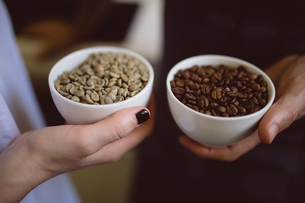 Male and female barista holding bowls of coffee beans in coffee shopの写真素材 [FYI02236462]