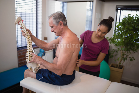 Female therapist examining back of shirtless male patient holding artificial spineの写真素材 [FYI02236883]