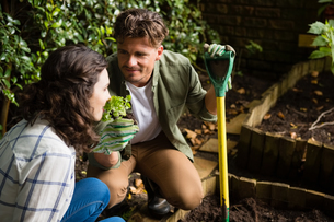 Couple smelling plants in gardenの写真素材 [FYI02236898]