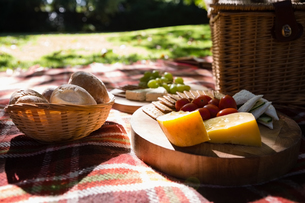 Bun, cheese, cracker biscuit on picnic blanketの写真素材 [FYI02236972]