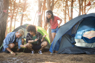 Young friends setting up tent at forestの写真素材 [FYI02237279]