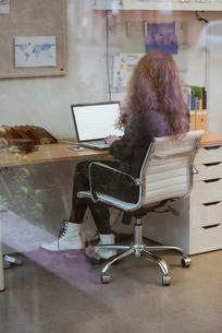 Female executive working on laptop at deskの写真素材 [FYI02238902]