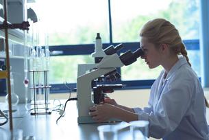 University student doing experiment on microscope in laboratoryの写真素材 [FYI02239117]