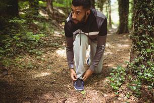 Man looking away while tying shoelaceの写真素材 [FYI02239192]