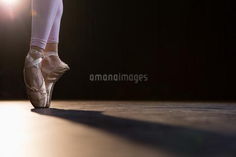 Graceful ballerina standing en pointeの写真素材 [FYI02239265]