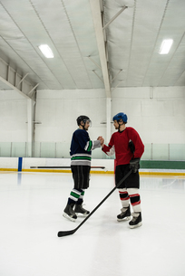 Ice hockey players shaking hands at rinkの写真素材 [FYI02239670]
