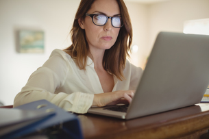 Woman using laptop in drawing roomの写真素材 [FYI02239732]
