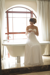 Bride in wedding dress posing near bathtubの写真素材 [FYI02239770]