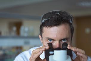 University student doing experiment on microscope in laboratoryの写真素材 [FYI02239915]