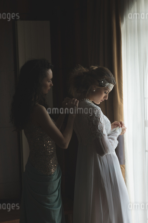 Bridesmaid assisting bride to dressの写真素材 [FYI02240069]