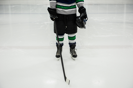 Low section of player holding ice hockey stickの写真素材 [FYI02240236]