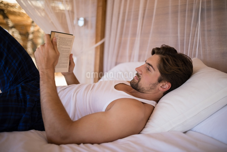 Man reading novel on canopy bedの写真素材 [FYI02240518]