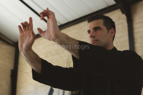 Kung fu fighter practicing martial artsの写真素材 [FYI02240763]