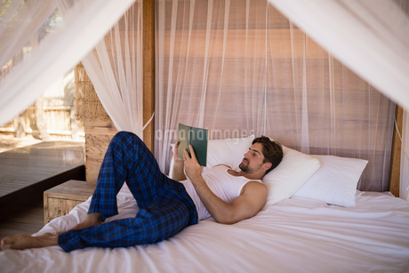 Man reading novel on canopy bedの写真素材 [FYI02240967]