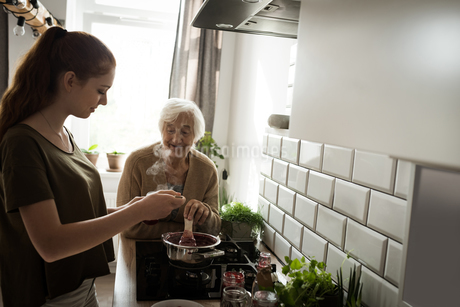 Grandmother and grand daughter cooking in the kitchenの写真素材 [FYI02241262]