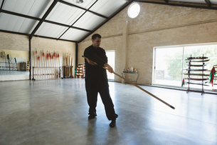 Kung fu fighter practicing with long poleの写真素材 [FYI02241285]