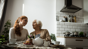 Grandmother and granddaughter looking at each other in living roomの写真素材 [FYI02241312]