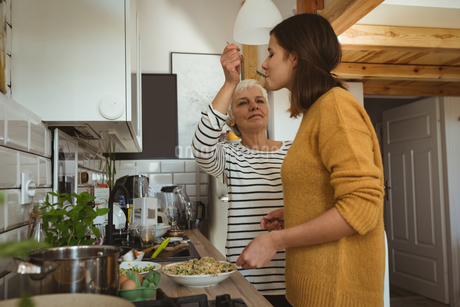 Senior woman spoon feeding daughter to check the tasteの写真素材 [FYI02241353]