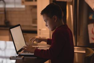 Boy using laptop at homeの写真素材 [FYI02241364]