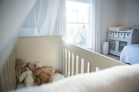 Wooden cradle with soft toys at homeの写真素材 [FYI02241520]