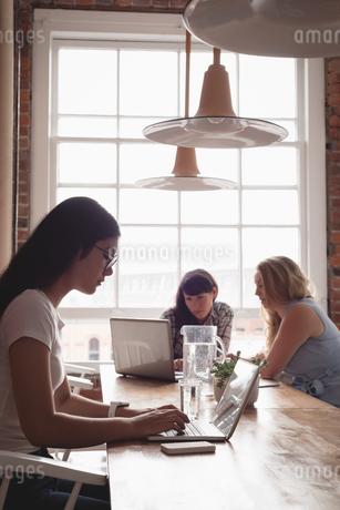 Female executive using laptopの写真素材 [FYI02241644]