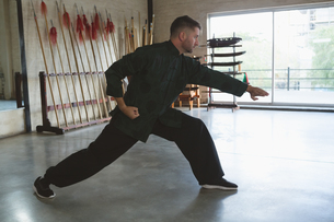 Kung fu fighter practicing martial artsの写真素材 [FYI02241650]