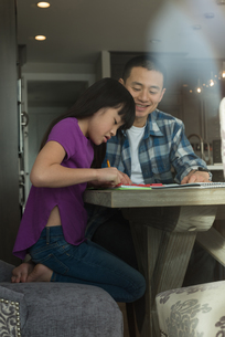 Father assisting her daughter in doing homeworkの写真素材 [FYI02241718]
