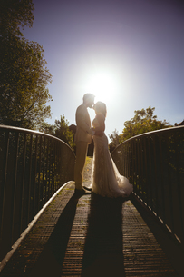 Bride and groom kissing on the footbridge in the gardenの写真素材 [FYI02242011]