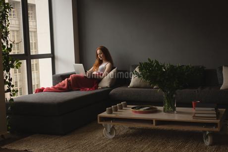 Woman using laptop in living roomの写真素材 [FYI02242138]