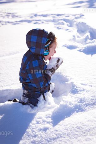 Cute girl licking snowの写真素材 [FYI02242397]