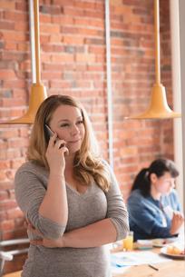Female executive talking on mobile phoneの写真素材 [FYI02242457]
