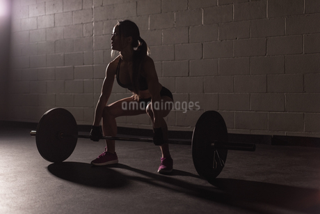 Fit woman exercising with barbellの写真素材 [FYI02242743]