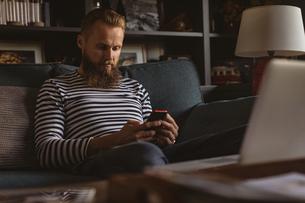 Man sitting on sofa using his mobile phoneの写真素材 [FYI02242906]