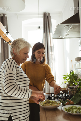 Senior woman and daughter cooking together in the kitchenの写真素材 [FYI02242963]