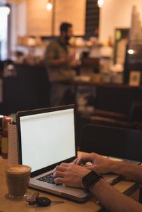 Man using laptop in cafeの写真素材 [FYI02243295]