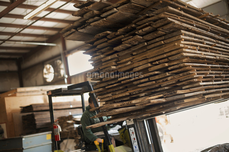 reclaimed timber planks wood on a forklift truck.の写真素材 [FYI02243541]