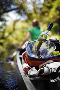 Woman canoeing with picnicの写真素材 [FYI02243671]