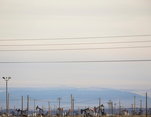 Oil rigs and power lines in the Midway-Sunset oil fieldsの写真素材 [FYI02243723]